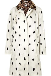 Burberry Animal Print Cotton Twill Trench Coat Ivory