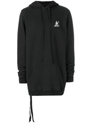 Unravel Project Oversized Skull Print Hoodie Black