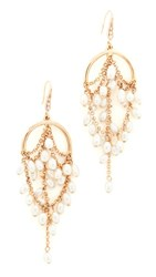 Theia Jewelry Grecian Chandelier Earrings With Pearls Gold Pearl