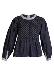Bliss And Mischief Patchwork Print Cotton Poplin Blouse Navy