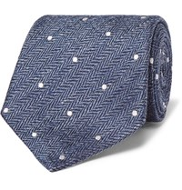 Etro 8Cm Polka Dot Herringbone Linen And Silk Blend Tie Blue