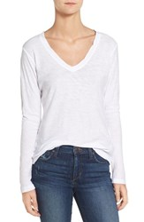 James Perse Women's Slub Cotton V Neck Long Sleeve Tee White