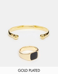 Asos Gold Plated Signet Ring And Bangle Set