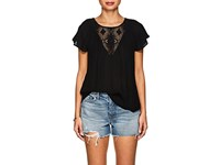 Lilla P Embroidered Voile Cap Sleeve Blouse Black