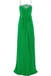 Thakoon Lace Trimmed Silk Crepe De Chine Gown Green