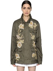 Valentino Embroidered Cotton Gabardine Parka