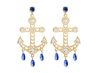 Betsey Johnson Shipshape Gold Large Anchor Chandelier Earrings Blue Earring