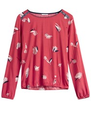 Sandwich Printed Blouse With Shoulder Button Detail Red