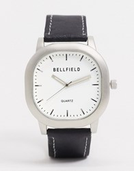 Bellfield Square Watch With White Dial Black