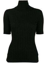 Bottega Veneta Roll Neck Short Sleeve Sweater Black