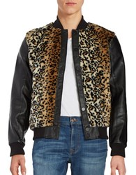 Laboratory Lt Man Leopard Print Faux Fur And Faux Leather Jacket