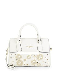 Karl Lagerfeld Floral Patch Convertible Satchel White