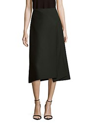 Celine Solid A Line Layered Skirt Forest