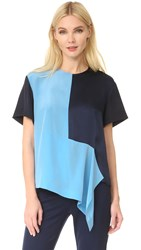 Diane Von Furstenberg Short Sleeve Paneled Tee True Blue Alex Navy