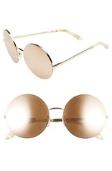 Victoria Beckham Women's 56Mm Round Sunglasses Gold Metallic Gold Mirror Gold Metallic Gold Mirror
