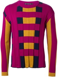 Issey Miyake Men Knitted Panel Sweater Pink And Purple
