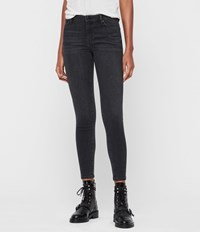 Allsaints Grace Mid Rise Ankle Skinny Jeans Washed Black