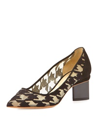 Nicholas Kirkwood Embroidered Houndstooth Point Toe Pump