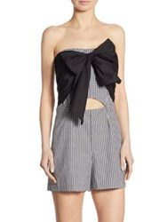 Scripted Gingham Bow Front Romper Black White