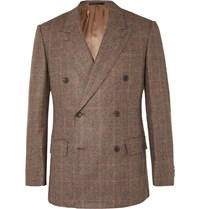 Kingsman Slim Fit Brown Double Breasted Prince Of Wales Checked Wool Suit Jacket Brown