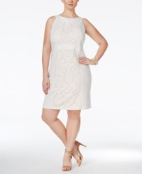 Love Squared Plus Size Sleeveless Lace Sheath Dress Ivory Nude