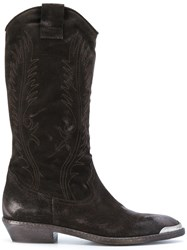 Fausto Zenga Embroidered Cowboy Boots Leather Suede Rubber Brown