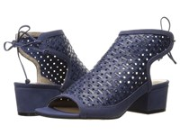 Nina Vance Navy Perforated Woven Leather Women's Sandals Blue