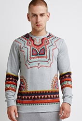 Forever 21 Tribal Print Sweatshirt Heather Grey Orange