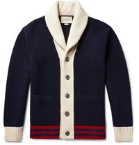 Gucci Shawl Collar Colour Block Wool Cardigan Navy