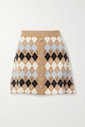 Maje Button Embellished Argyle Wool Blend Mini Skirt Brown