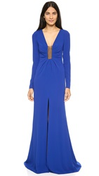 Thakoon Gown With Sheer Inset Dark Blue