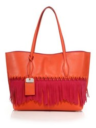 Tod's Joy Medium Two Tone Fringed Leather And Suede Tote