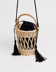 Mango Wooden Basket Bag With Detachable Strap In Natural Beige
