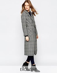 Helene Berman Button Down Belted Coat In Grey Green And Navy Check Grey Check
