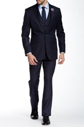 Kenneth Cole Reaction Navy Pinstripe Two Button Notch Lapel Suit Blue