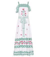 Gul Hurgel Floral Embroidered Linen Dress White
