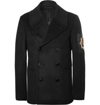 Alexander Mcqueen Double Breasted Embellished Wool And Cashmere Blend Peacoat Black