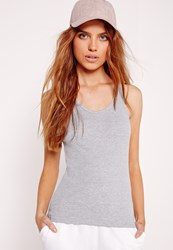 Missguided Jersey Racer Vest Top Grey Grey