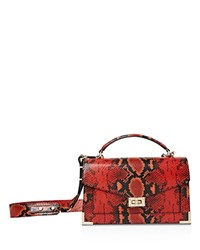 The Kooples Emily Snake Embossed Leather Medium Crossbody Red