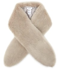 Reiss Laska Faux Fur Scarf In Soft Grey
