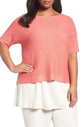 Eileen Fisher Plus Size Women's Organic Linen And Cotton Knit Top Pink Grapefruit