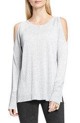 Vince Camuto Women's Metallic Knit Cold Shoulder Sweater Light Heather Grey