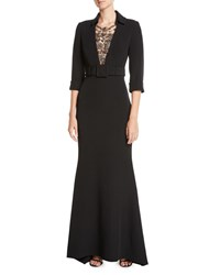 Badgley Mischka Jeweled Front 3 4 Sleeve Belted Trumpet Tuxedo Evening Gown Black