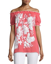 Naeem Khan Off The Shoulder Embroidered Peasant Top Coral White Women's