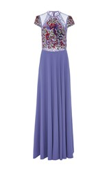 Georges Hobeika Intricate Lace Floor Length Gown Purple