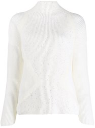 Lorena Antoniazzi Sequin Embellished Ribbed Knit Sweater White