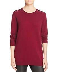 Bloomingdale's C By Lace Up Shoulder Cashmere Sweater Cabernet