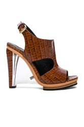 Rodarte Embossed Croc Leather Sandals In Brown Animal Print