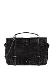 Saint Laurent Medium Charlotte Embossed Leather Bag Black