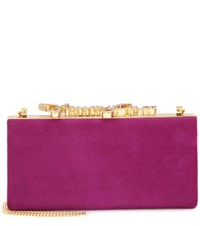 Jimmy Choo Celeste Crystal Embellished Suede Clutch Purple
